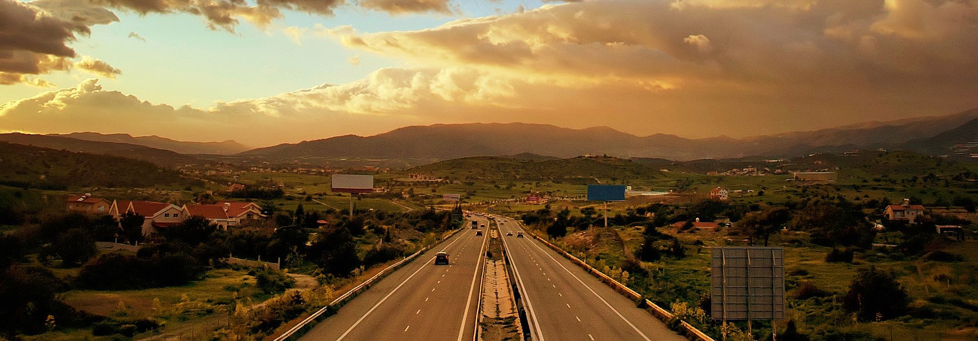 Highway with sunset view