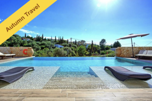 Corfu villa with sea views sleeps 8-10